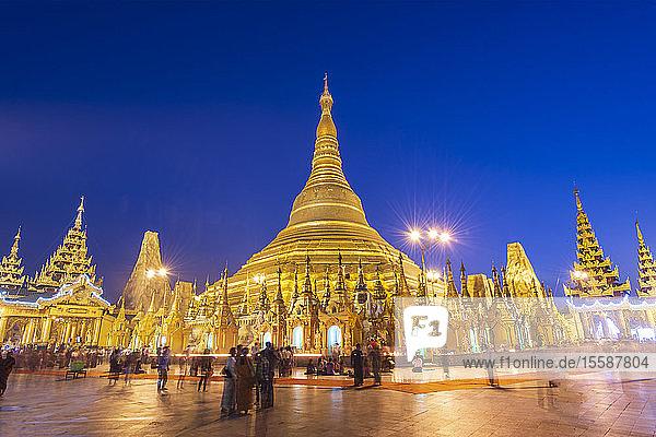 Shwedagon Pagoda at night  Yangon (Rangoon)  Myanmar (Burma)