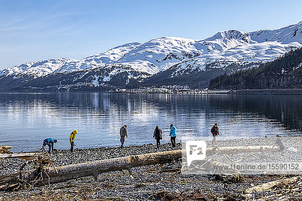 Beachcombers roam the beaches around Whittier  Alaska with parts of Whittier showing in background  South-central Alaska; Whittier  Alaska  United States of America