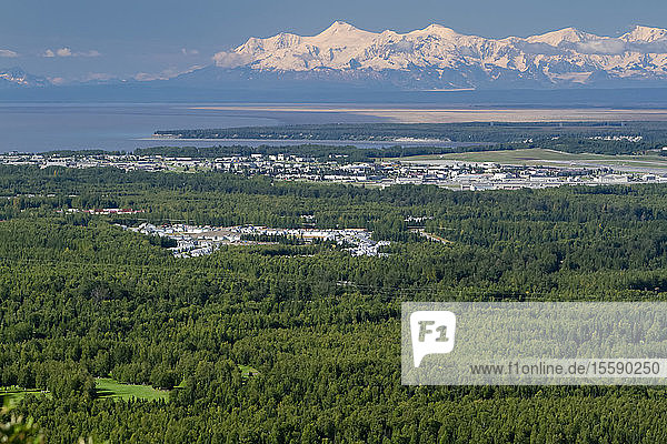 Summer Aerial View Of Joint Base Elmendorf-Richardson With Alaska Range Background  Anchorage  Southcentral Alaska  Summer