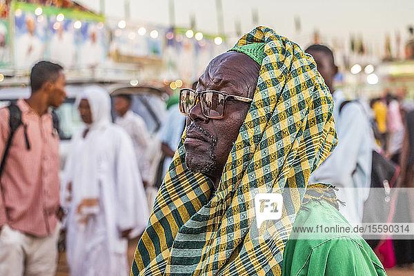 Sufi dervish attending the dhikr (remembrance of Allah) devotional ceremony at the Hamid el-Nil mosque; Omdurman,  Khartoum,  Sudan
