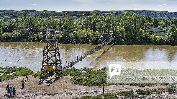 Star Mine Suspension Bridge  a 117 metre long pedestrian suspension bridge across the Red Deer River; Drumheller  Alberta  Canada