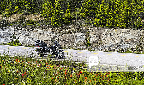 Motorcycle parked on the roadside  Icefield Parkway; Improvement District No. 12  Alberta  Canada