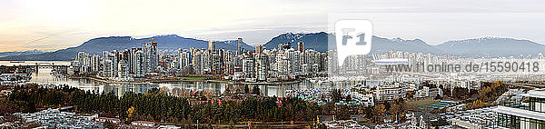 Panoramic cityscape of Vancouver  BC at dusk; Vancouver  British Columbia  Canada