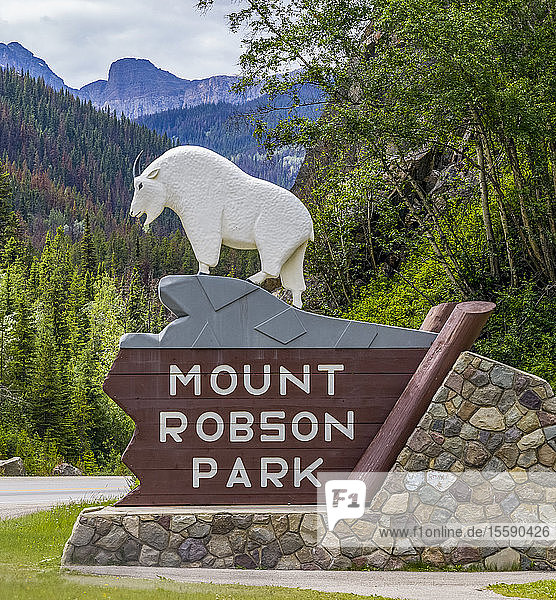 Sign for Mount Robson Park in the Canadian Rocky Mountains; British Columbia  Canada