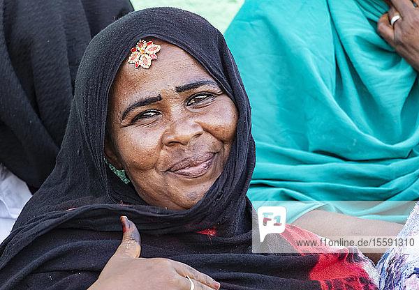 Woman attending the dhikr (remembrance of Allah) devotional ceremony at the Hamid el-Nil mosque; Omdurman  Khartoum  Sudan
