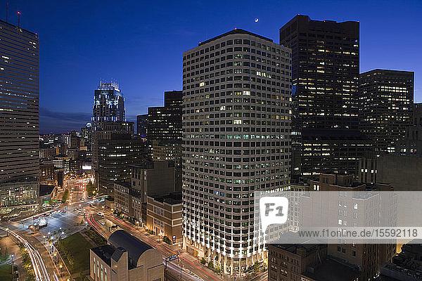 High angle view of a city at dusk  Boston  Massachusetts  USA