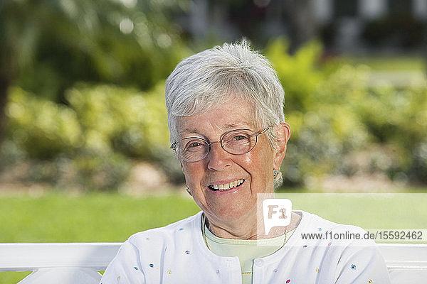 Portrait of a senior woman smiling.