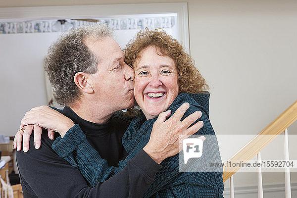 Close-up of a mature romantic couple