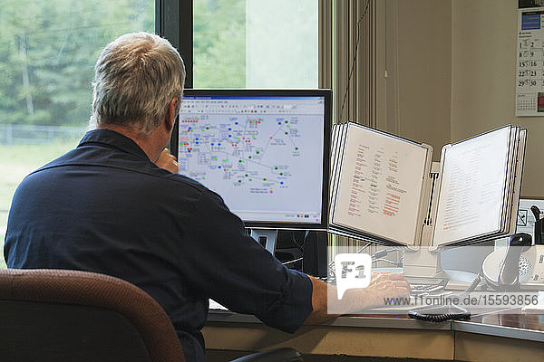 One engineer on computer starting up the water treatment plant in program for supervisory control and data acquisition