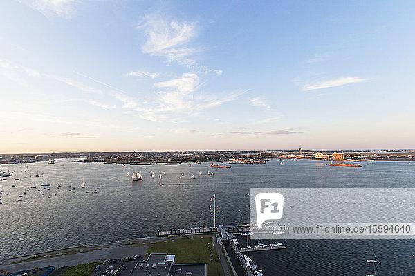 Harbor toward an airport  Boston Harbor  Logan Airport  Boston  Massachusetts  USA