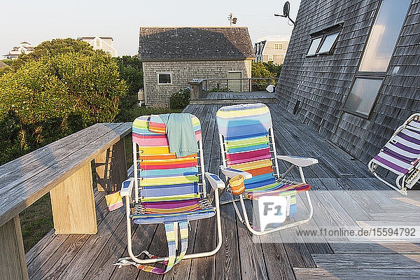 Summer chairs at the beach house