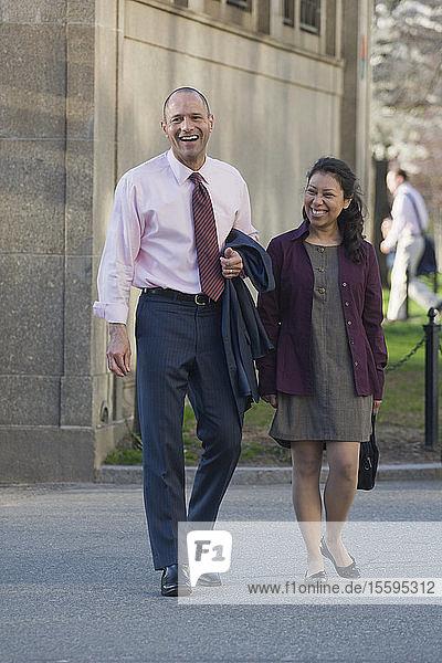 Hispanic couple walking together