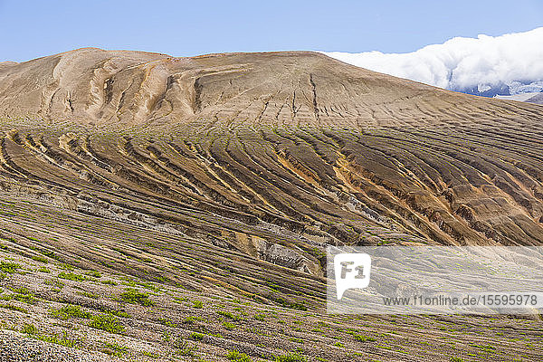 Small streams have carved wide channels in the ash and pumice covering the Valley of Ten Thousand Smokes in Katmai National Park and Preserve; Alaska  United States of America