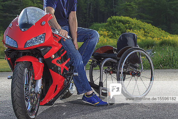 Man with spinal cord injury on his custom adaptive motorcycle