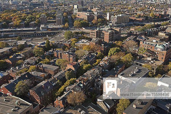 High angle view of a city  Bay Village  Boston  Suffolk County  Massachusetts  USA