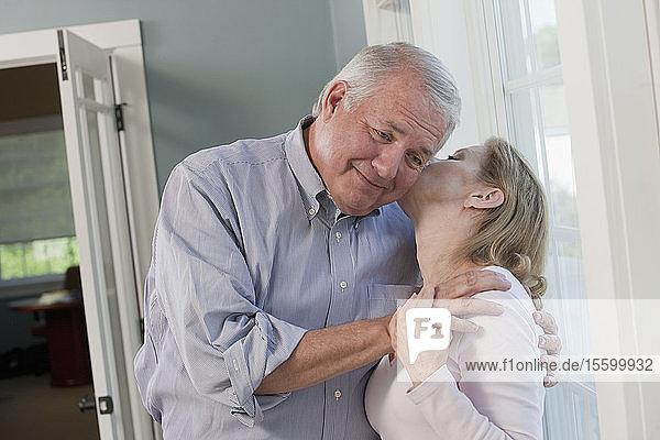 Senior couple romancing