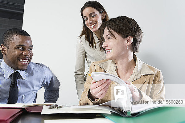 Business people flipping through pages of file in office.
