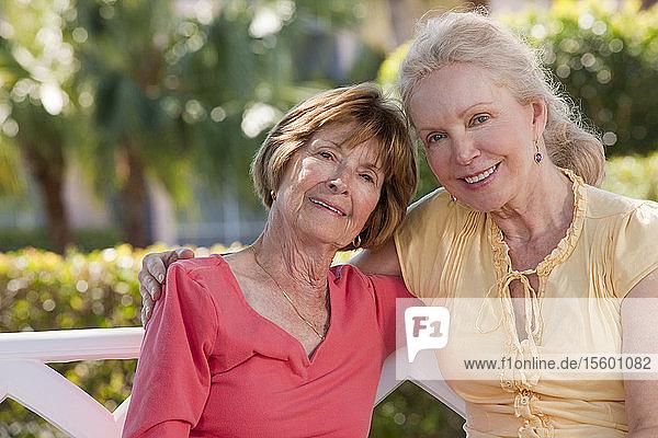 Portrait of two senior women smiling