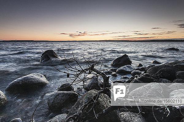 Lake at dusk  Sebago Lake  New Hampshire  USA