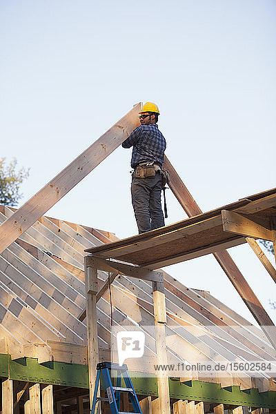 Carpenter placing a rafter