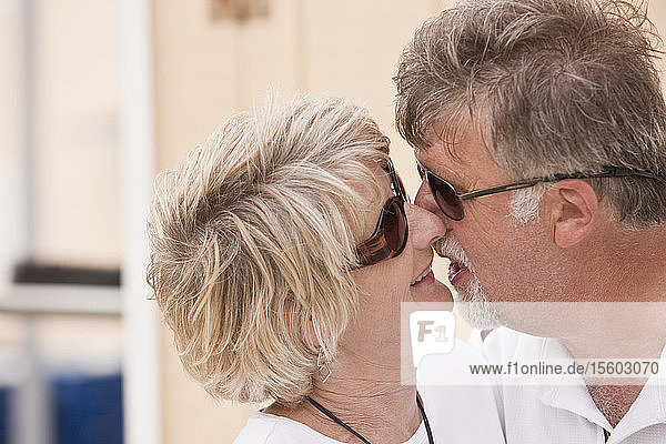 Close-up of a couple kissing