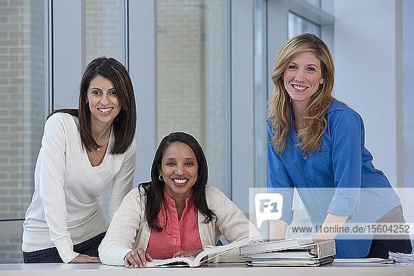Portrait of three female students