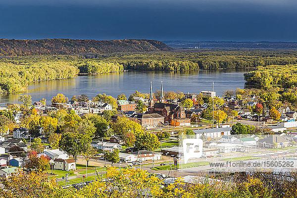 Scenic view overlooking Guttenberg  Iowa and the Mississippi River  Northeast Iowa in autumn; Guttenberg  Iowa  United States of America