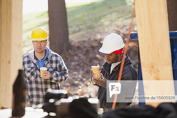 Carpenters on coffee break at a construction site