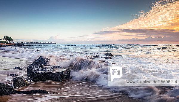 Sunrise over the pacific ocean viewed from Lydgate beach; Kapaa  Kauai  Hawaii  United States of America