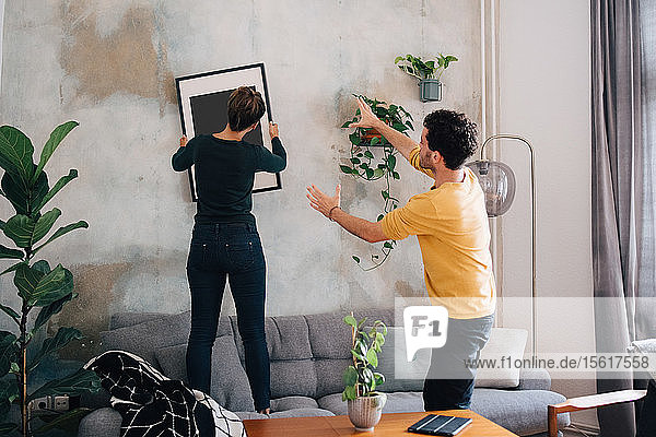 Mittelgroßer erwachsener Mann führt Freundin im hängenden Bilderrahmen an der Wand im neuen Zuhause