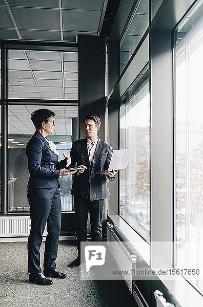 Geschäftsleute diskutieren in voller Länge  während sie im Amt sind