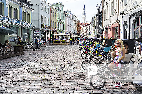Bike Taxis In Tallinn Waiting For Customers To Visit The Old Town