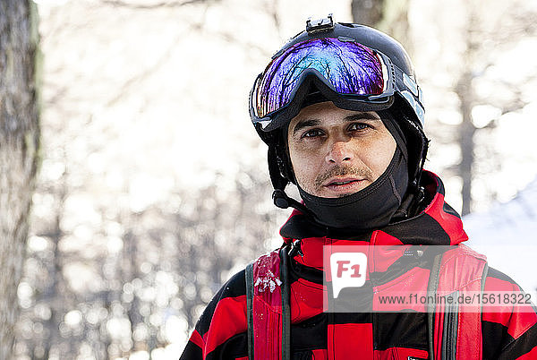 Portrait Of A Skier In The Forest At Cerro Catedral In Argentina