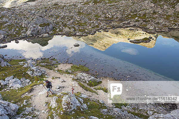 View from above of hiker in Dolina Sedmerih Jezer  Valley of the Seven lakes  Triglav National Park  Slovenia