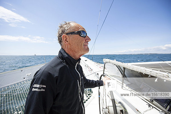 Onboard the trimaran IDEC SPORT skippered by Francis Joyon  preparing to take part in La Route du Rhum destination Guadeloupe  the fortieth edition of which starts from St. Malo on 4th November  La Trinite-sur-Mer  Brittany  France