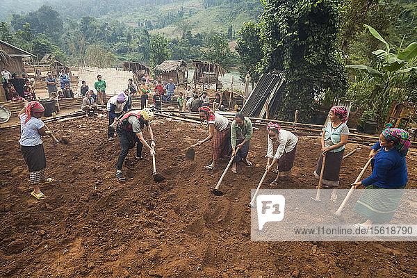 Robert Hahn helps locals grade a flat platform for a new home in Ban Phak Kung  Laos.