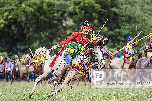 Mann reitet auf Pferd mit Speer und nimmt am Pasola-Festival teil  Insel Sumba  Indonesien