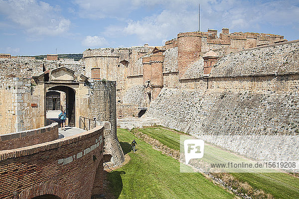 Interior Ramparts Of Salses-le-chateau In Languedoc-roussillon  France  Europe