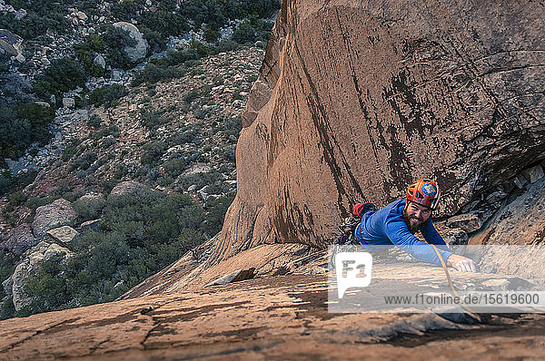 View from above of single male adventurous rock climber climbing up sandstone cliff  Red Rock National Park  Nevada  USA