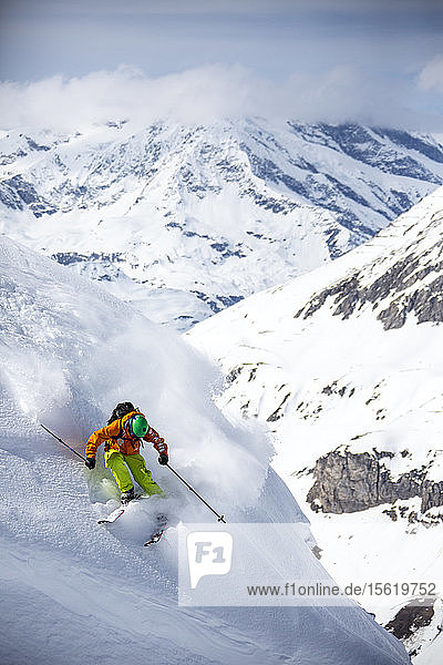 Skiing in mountains of Val d'Isere  France
