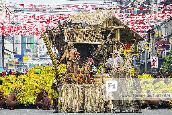 Tribu Panayanon performing during the 2015 Dinagyang Festival  Iloilo City  Western Visayas  Philippines