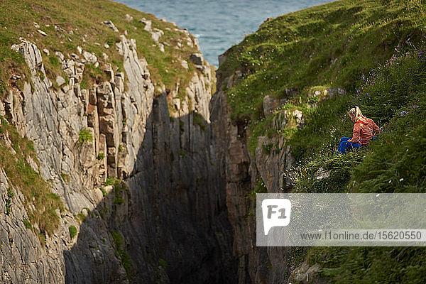 Professional climbers Jacopo Larcher  Barbara Zangerl  Roland Hemetzberger and Lara Neumeier on a climbing trip to Wales  UK.