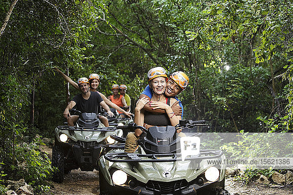 Several couples going on ATV ride at Emotions Park outside Playa del Carmen in Quintana Roo  Mexico