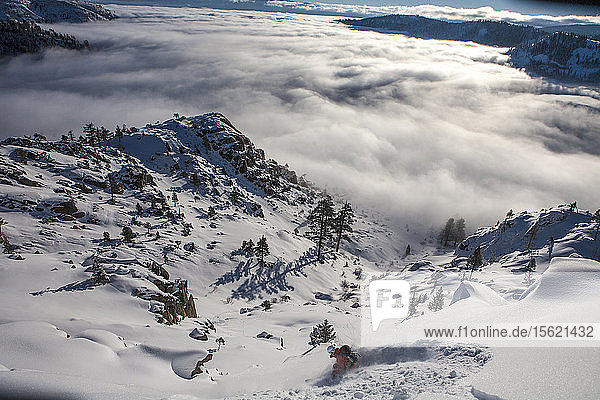 Skier Descend On Snowy Slope Region In Lake Tahoe  California  Use