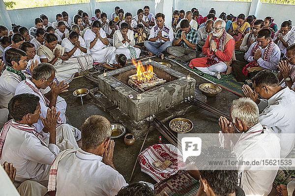 Hawan At Karbi Anglong District In Brahma Dharma Jyoti Mandir