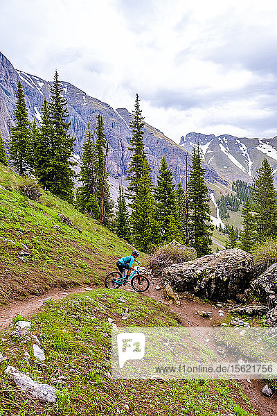 Woman mountain biker in scenic landscape rides downhill on the Ice Lakes trail  USA