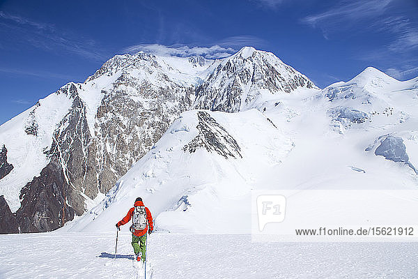 A mountaineer descending Mount Capps  with views on Denali in Alaska. The climbers are connected with a rope  to protect them from falling deep in a glacier crevasse. Denali National Park is a great location for backcountry skiing and mountain climbing tours.