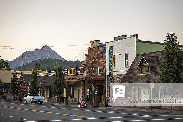 View of street in town and mountain peak  Shasta  California  USA
