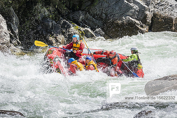 A raft in Granity Rapid on the Buller river.