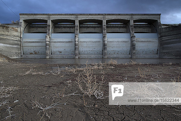 Rye Patch Dam on the Humboldt River  Nevada. There was no water reaching the dam.